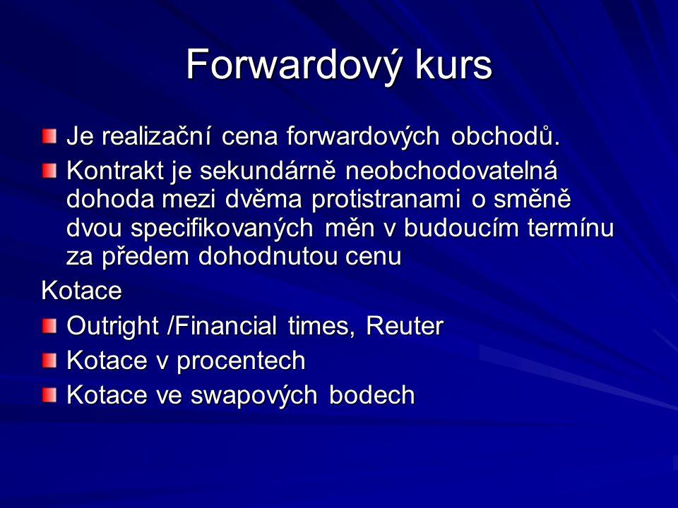 Forwardový kurs Je realizační cena forwardových obchodů.