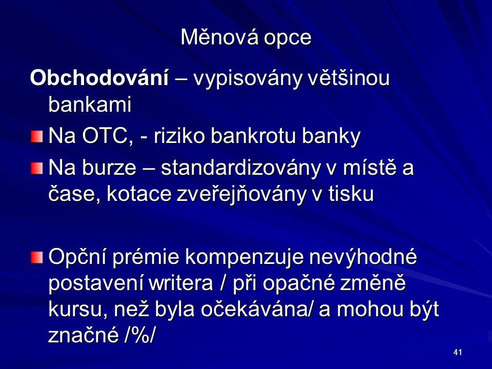 Měnová opce Obchodování – vypisovány většinou bankami. Na OTC, - riziko bankrotu banky.