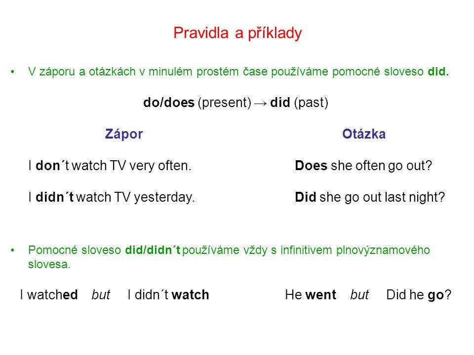 Pravidla a příklady do/does (present) → did (past) Zápor Otázka