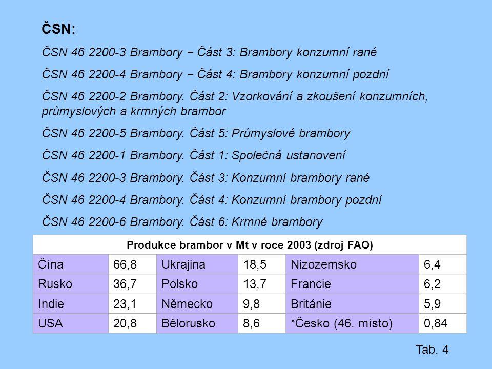 Produkce brambor v Mt v roce 2003 (zdroj FAO)