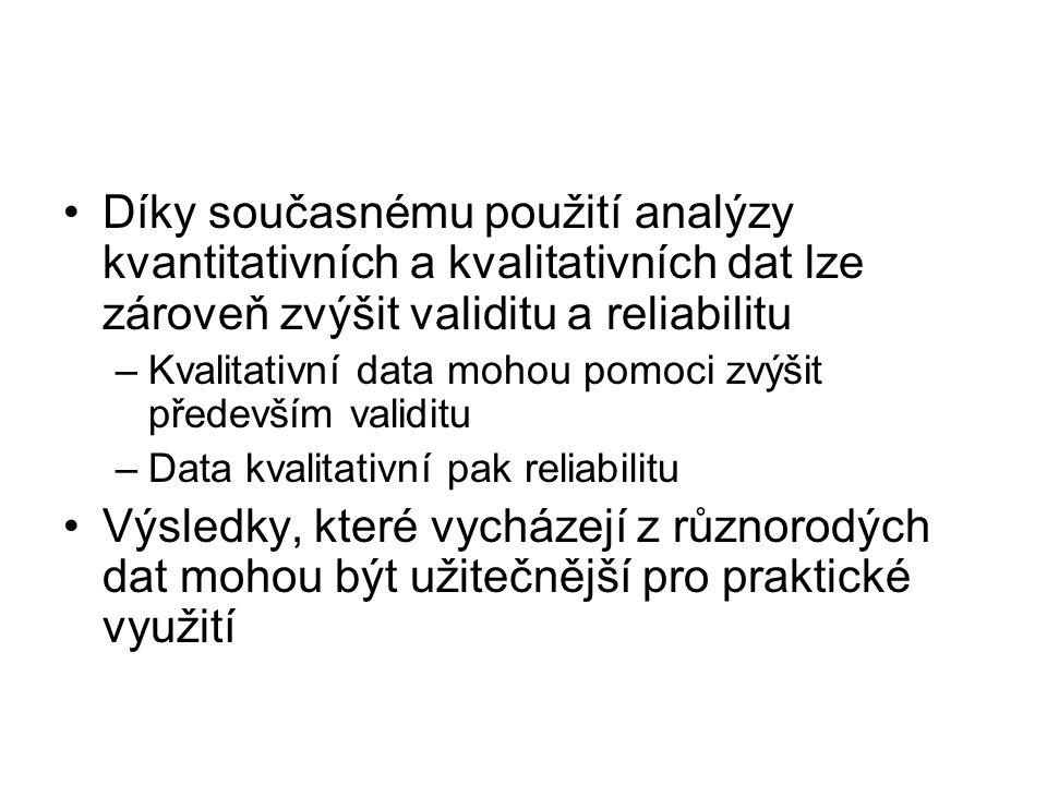 Díky současnému použití analýzy kvantitativních a kvalitativních dat lze zároveň zvýšit validitu a reliabilitu