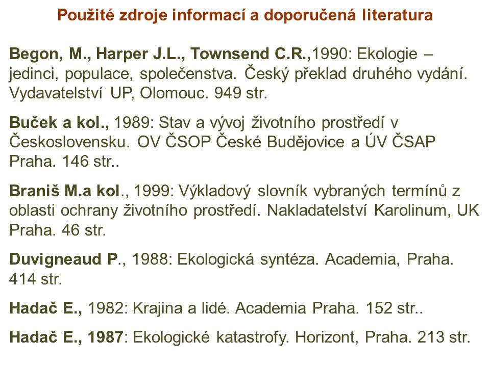 Použité zdroje informací a doporučená literatura