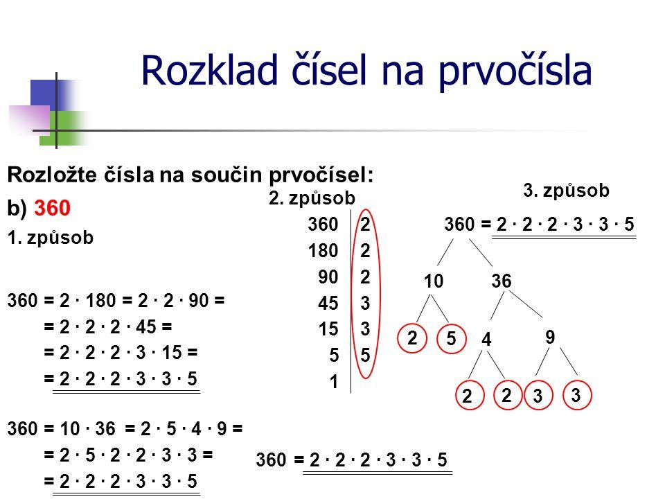 Rozklad čísel na prvočísla