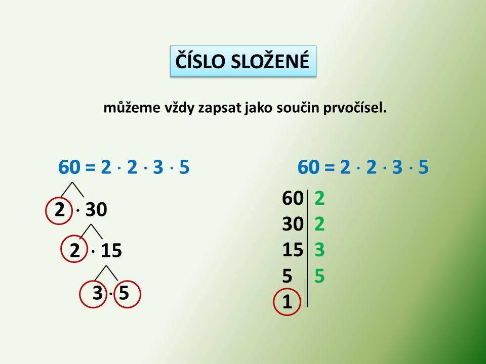 ČÍSLO SLOŽENÉ 60 = 60 = 2  2  3  5 60 = 2  2  3  5 60 = 2 3 5 1