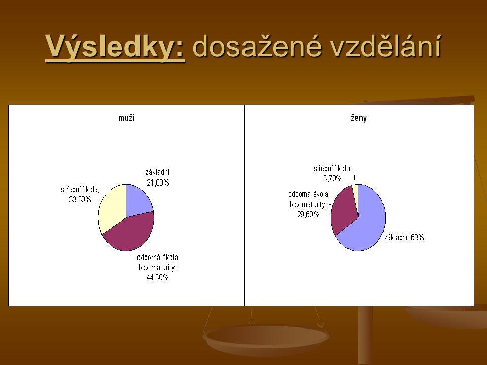 Výsledky: dosažené vzdělání