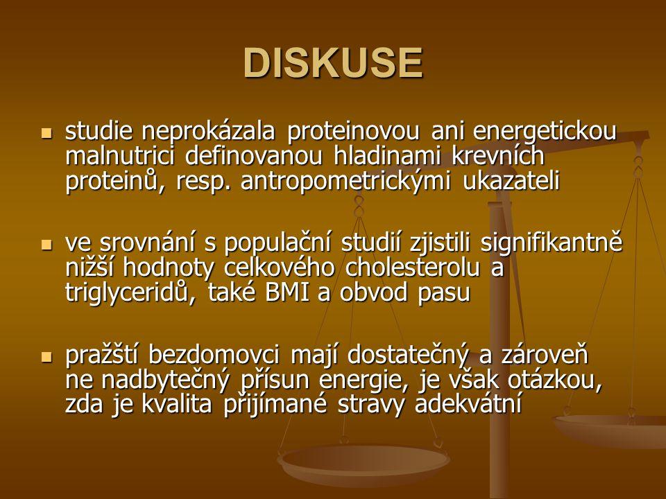 DISKUSE studie neprokázala proteinovou ani energetickou malnutrici definovanou hladinami krevních proteinů, resp. antropometrickými ukazateli.