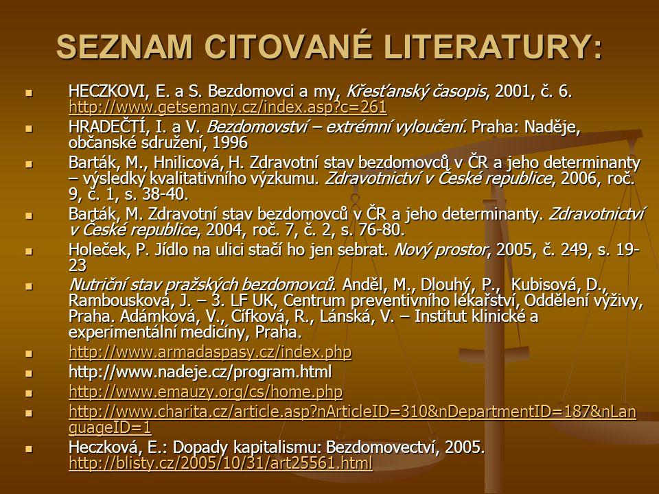SEZNAM CITOVANÉ LITERATURY: