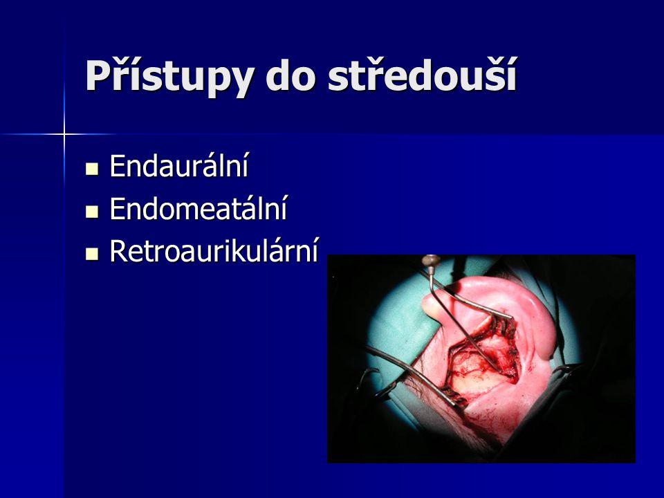 Přístupy do středouší Endaurální Endomeatální Retroaurikulární