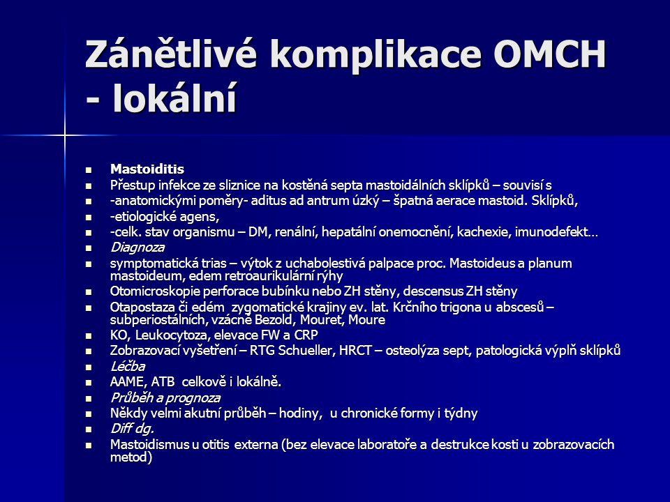 Zánětlivé komplikace OMCH - lokální
