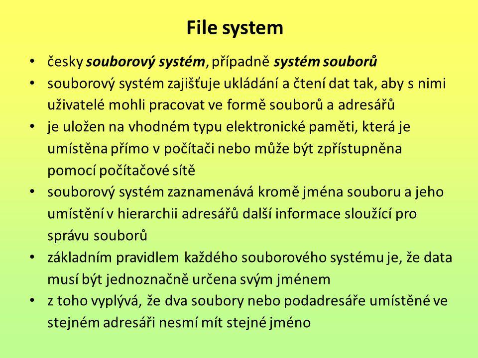 File system česky souborový systém, případně systém souborů