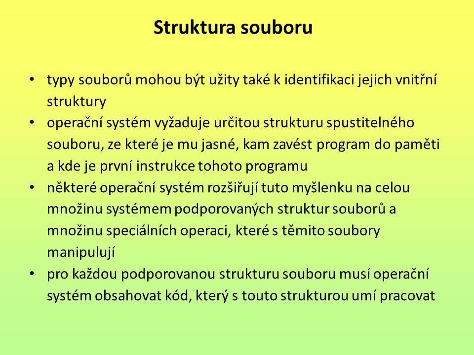 Struktura souboru typy souborů mohou být užity také k identifikaci jejich vnitřní struktury.