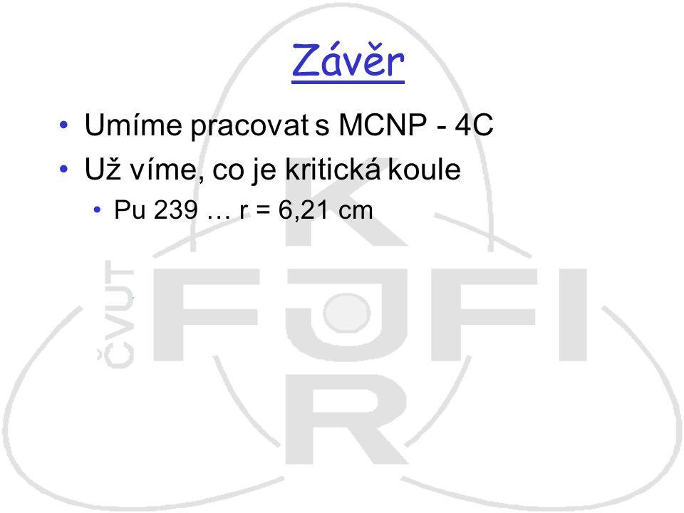 Závěr Umíme pracovat s MCNP - 4C Už víme, co je kritická koule
