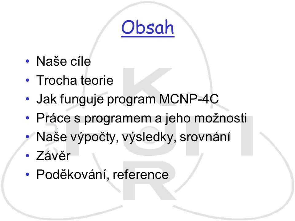 Obsah Naše cíle Trocha teorie Jak funguje program MCNP-4C