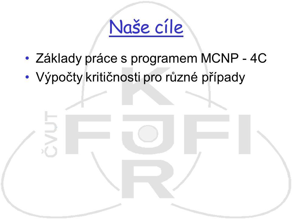 Naše cíle Základy práce s programem MCNP - 4C