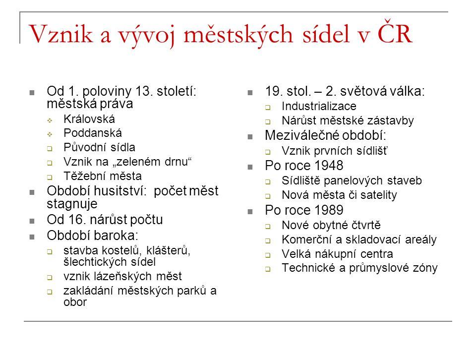 Vznik a vývoj městských sídel v ČR