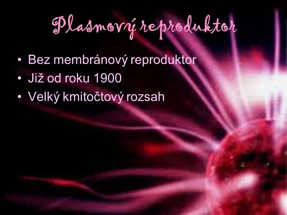 Plasmový reproduktor Bez membránový reproduktor Již od roku 1900