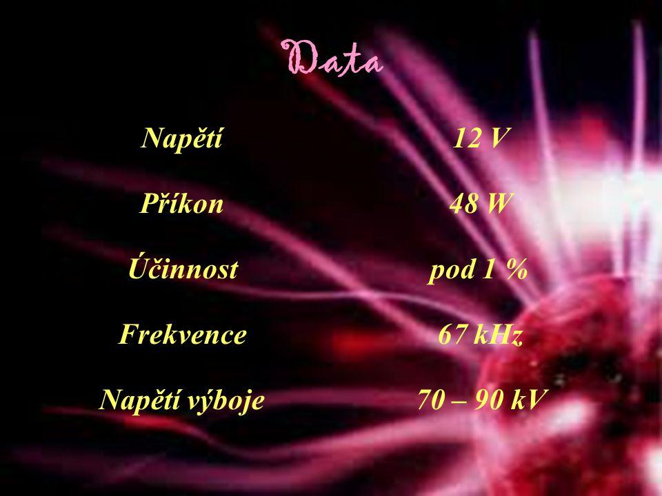 Data Napětí 12 V Příkon 48 W Účinnost pod 1 % Frekvence 67 kHz