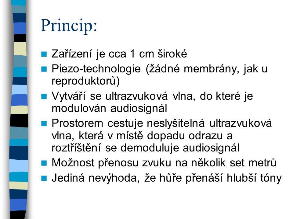 Princip: Zařízení je cca 1 cm široké