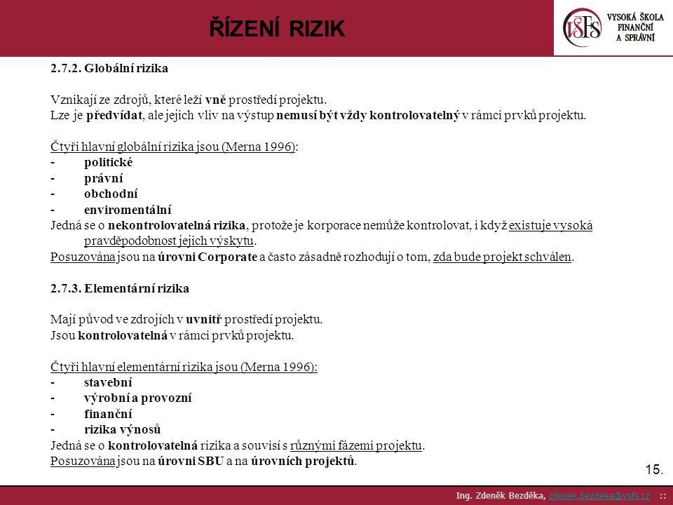 ŘÍZENÍ RIZIK 2.7.2. Globální rizika