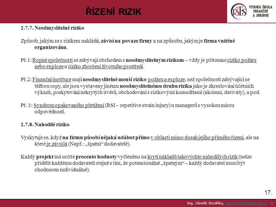 ŘÍZENÍ RIZIK 2.7.7. Neodmyslitelné riziko