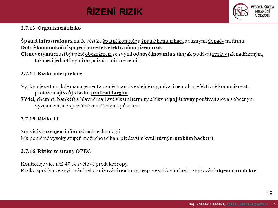 ŘÍZENÍ RIZIK 2.7.13. Organizační riziko