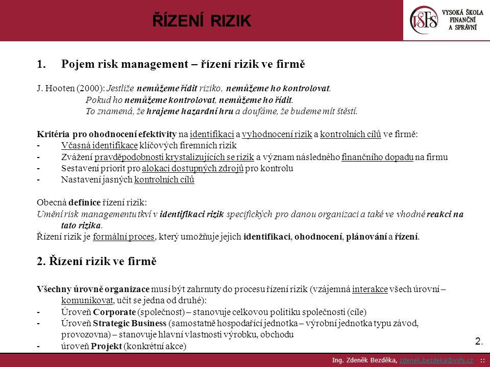ŘÍZENÍ RIZIK Pojem risk management – řízení rizik ve firmě