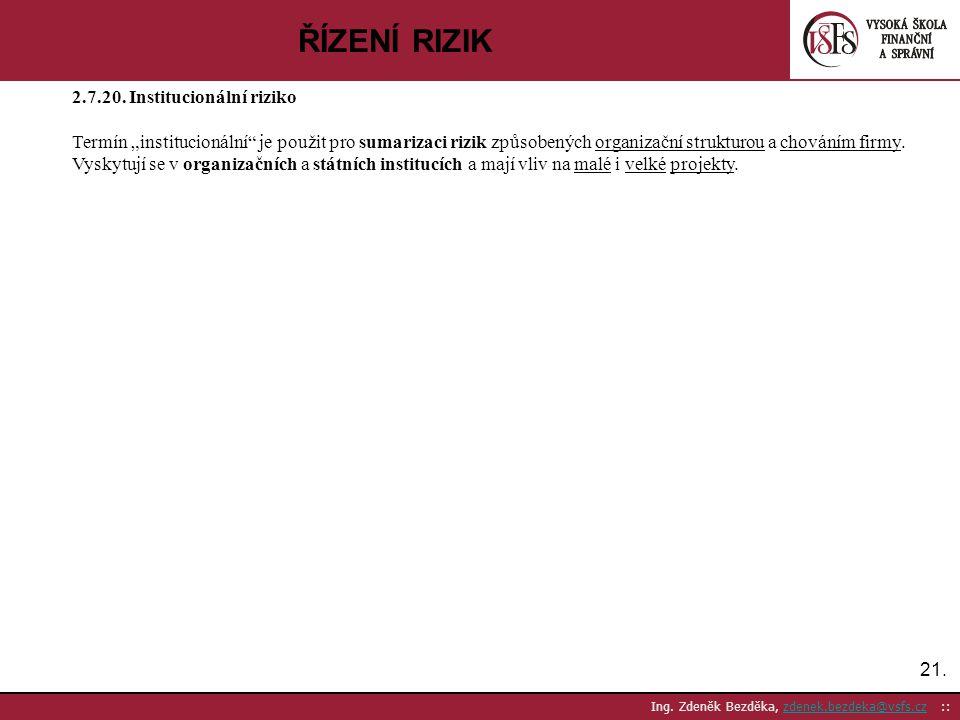 ŘÍZENÍ RIZIK 2.7.20. Institucionální riziko