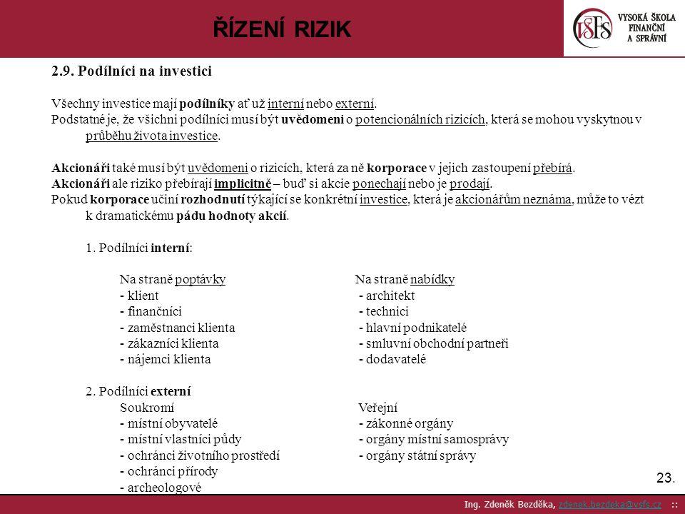 ŘÍZENÍ RIZIK 2.9. Podílníci na investici