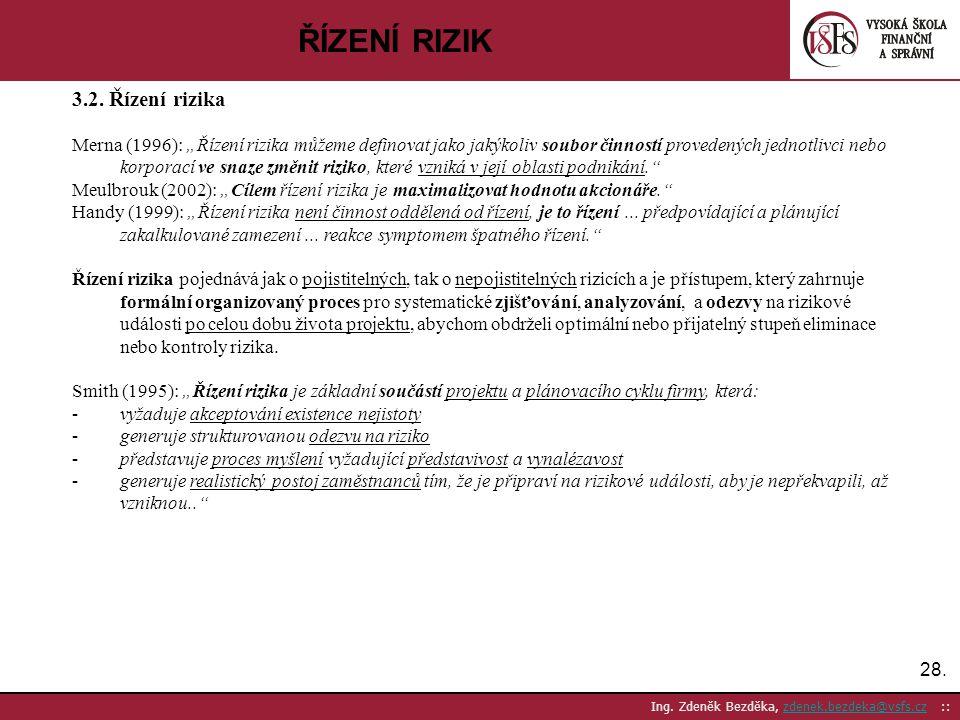 ŘÍZENÍ RIZIK 3.2. Řízení rizika