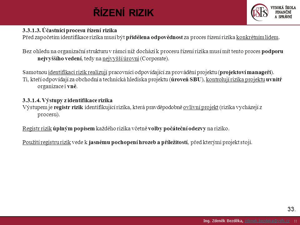ŘÍZENÍ RIZIK 3.3.1.3. Účastníci procesu řízení rizika