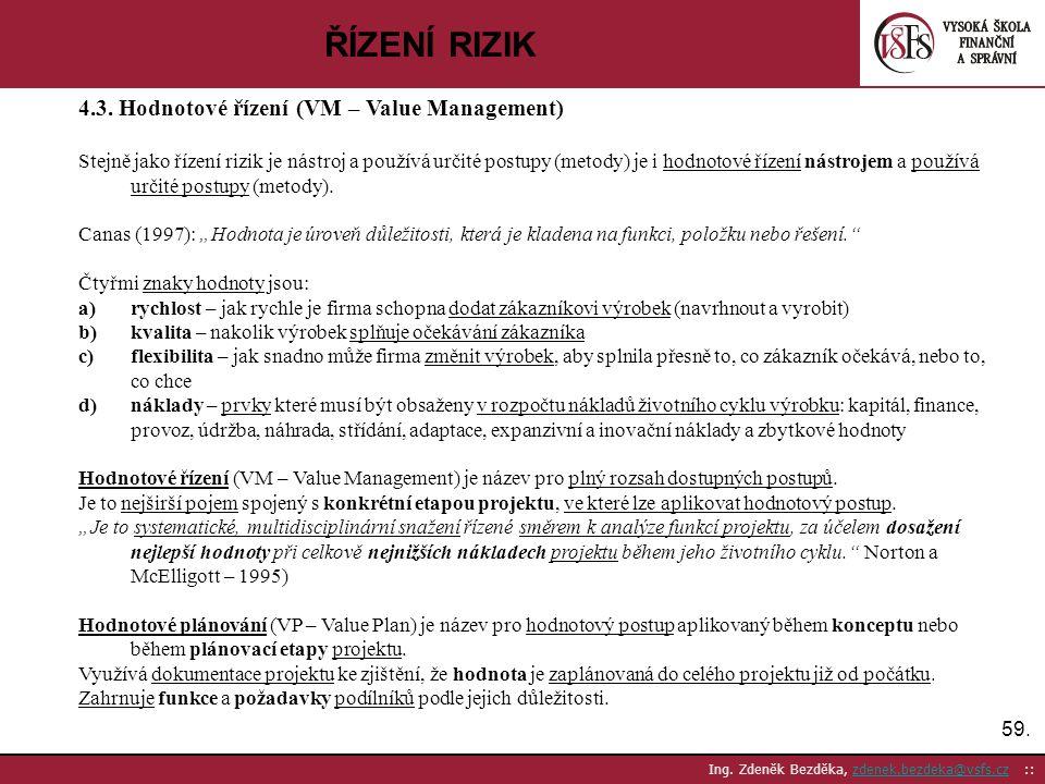 ŘÍZENÍ RIZIK 4.3. Hodnotové řízení (VM – Value Management)