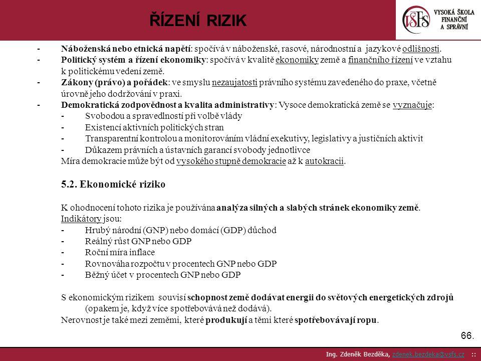 ŘÍZENÍ RIZIK 5.2. Ekonomické riziko