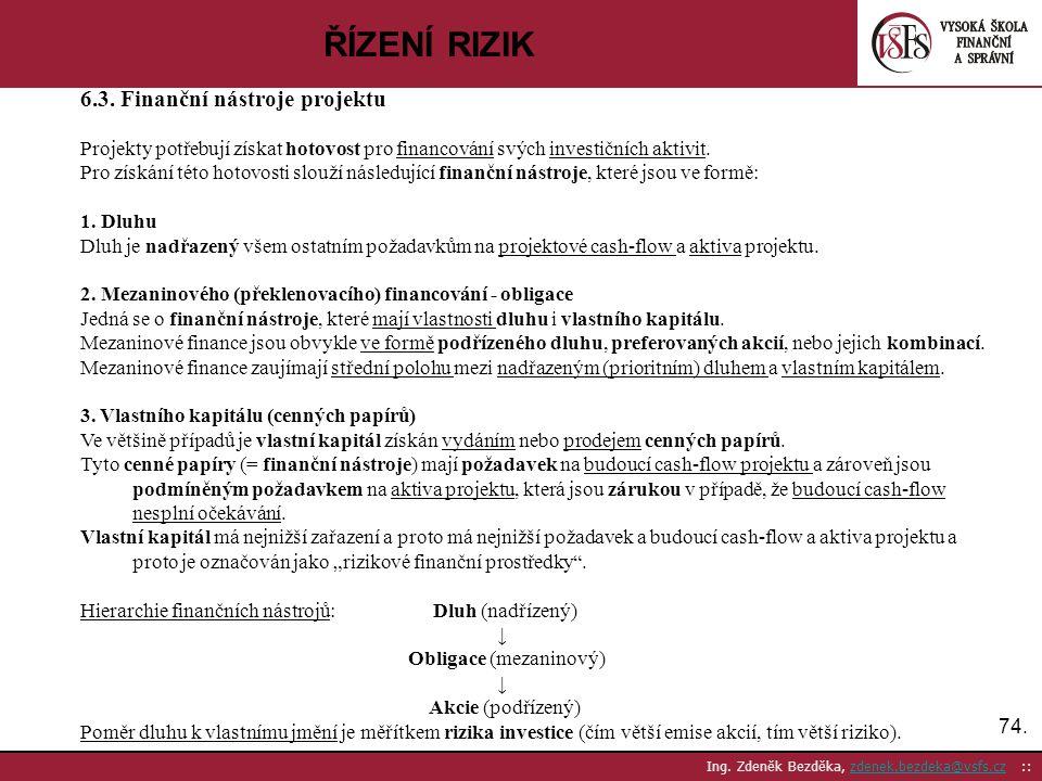 ŘÍZENÍ RIZIK 6.3. Finanční nástroje projektu