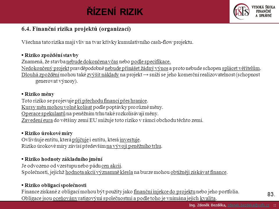ŘÍZENÍ RIZIK 6.4. Finanční rizika projektů (organizací)
