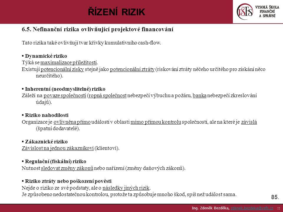 ŘÍZENÍ RIZIK 6.5. Nefinanční rizika ovlivňující projektové financování