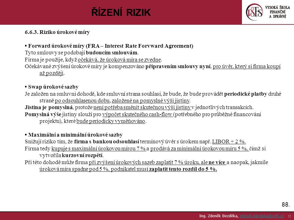 ŘÍZENÍ RIZIK 6.6.3. Riziko úrokové míry