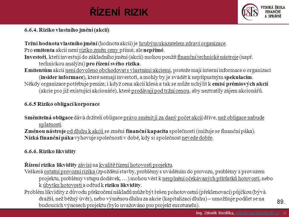 ŘÍZENÍ RIZIK 6.6.4. Riziko vlastního jmění (akcií)