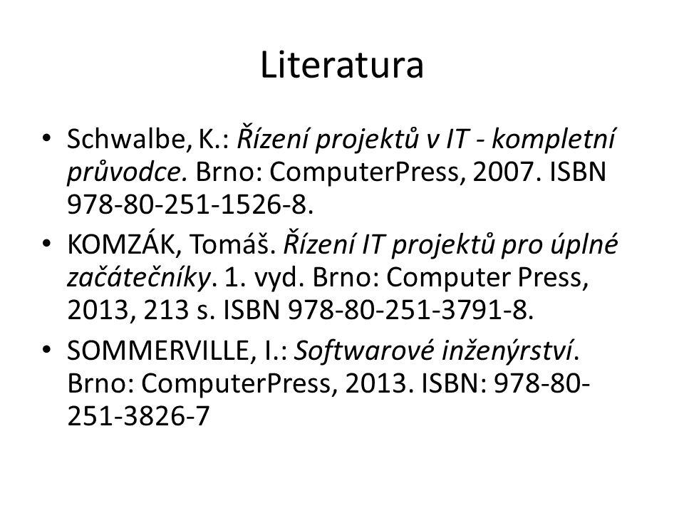 Literatura Schwalbe, K.: Řízení projektů v IT - kompletní průvodce. Brno: ComputerPress, 2007. ISBN 978-80-251-1526-8.