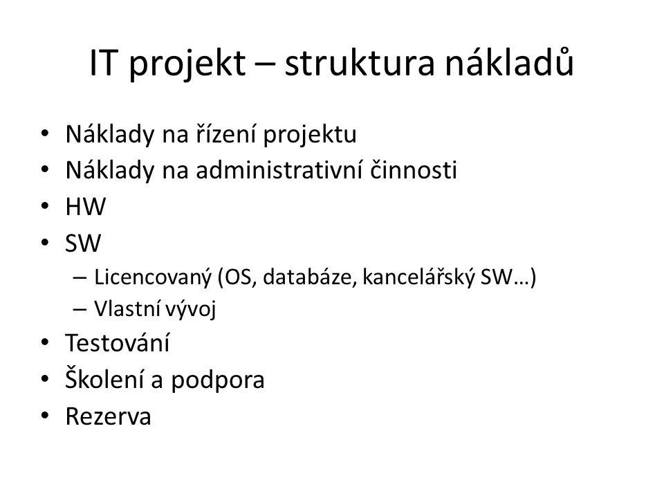 IT projekt – struktura nákladů