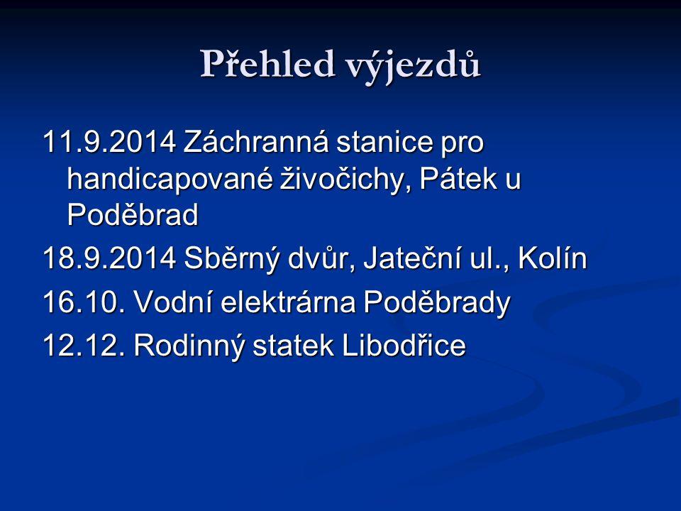 Přehled výjezdů 11.9.2014 Záchranná stanice pro handicapované živočichy, Pátek u Poděbrad. 18.9.2014 Sběrný dvůr, Jateční ul., Kolín.