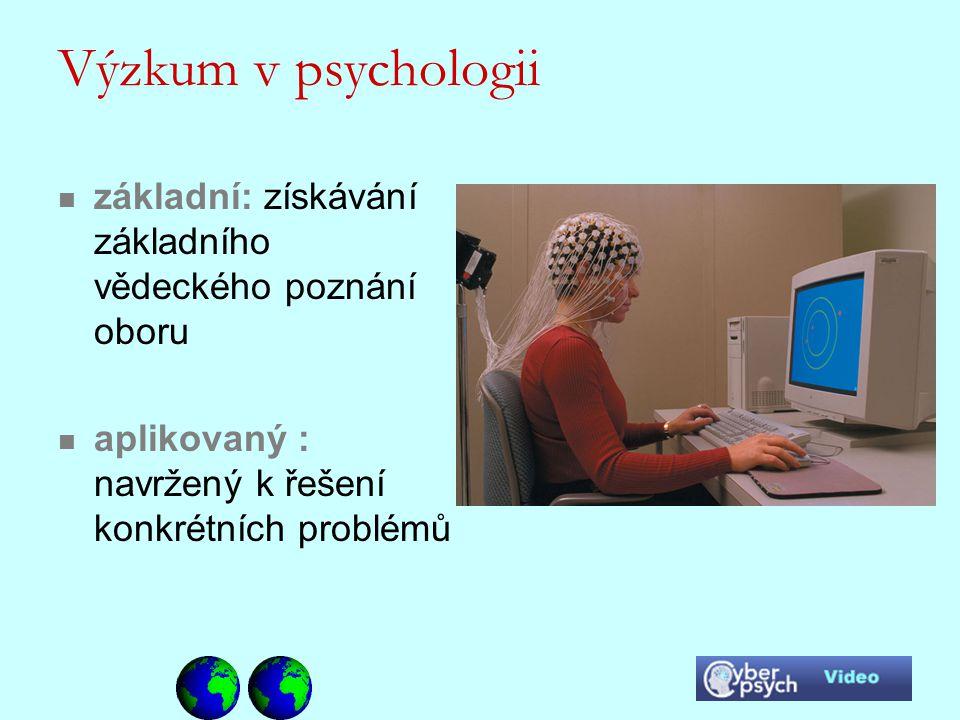 Výzkum v psychologii základní: získávání základního vědeckého poznání oboru.