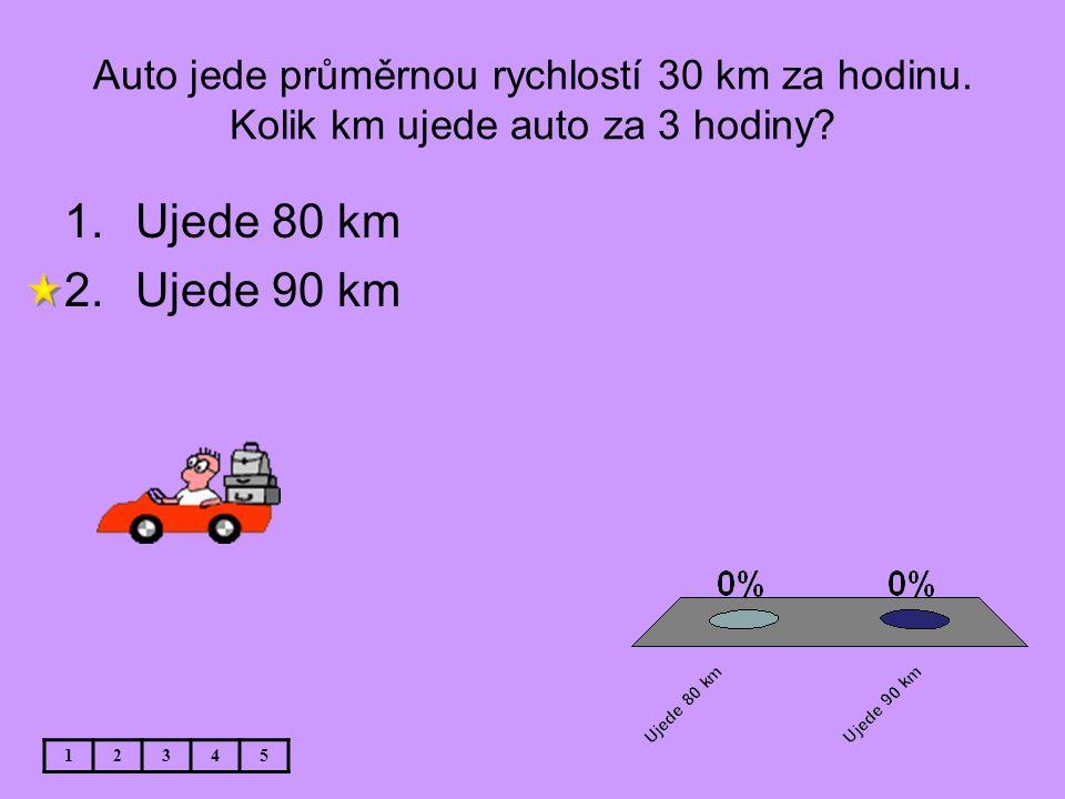 Auto jede průměrnou rychlostí 30 km za hodinu