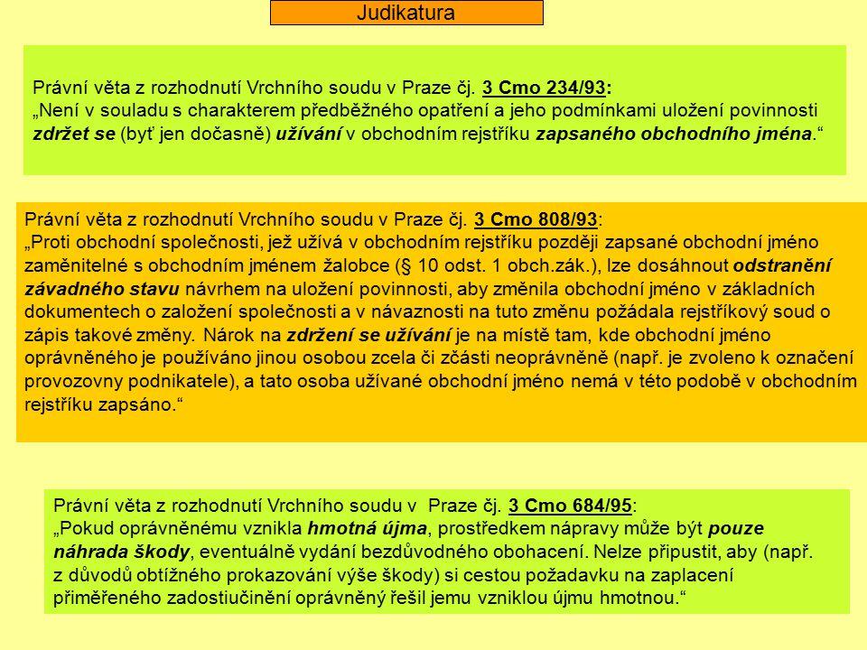 Judikatura Právní věta z rozhodnutí Vrchního soudu v Praze čj. 3 Cmo 234/93: