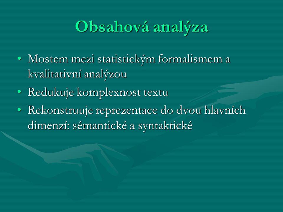 Obsahová analýza Mostem mezi statistickým formalismem a kvalitativní analýzou. Redukuje komplexnost textu.