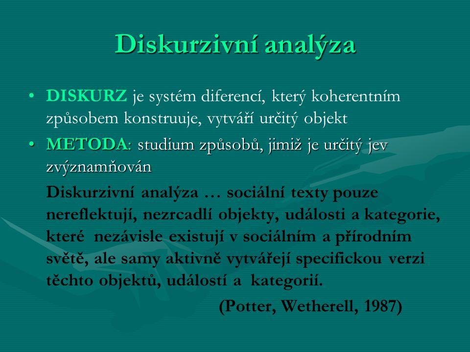 Diskurzivní analýza DISKURZ je systém diferencí, který koherentním způsobem konstruuje, vytváří určitý objekt.