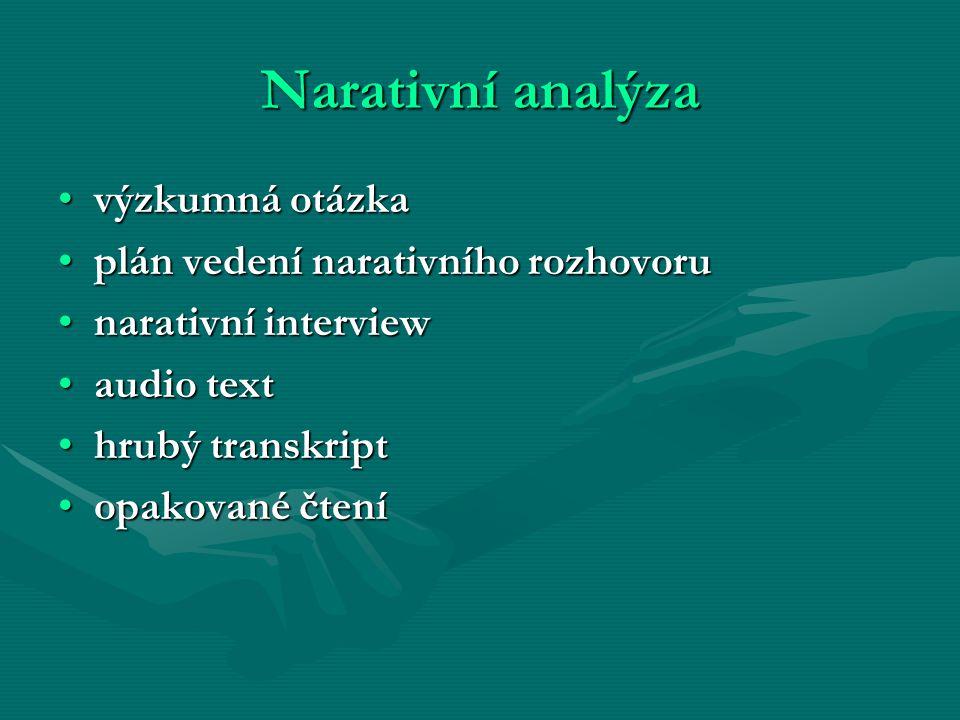 Narativní analýza výzkumná otázka plán vedení narativního rozhovoru