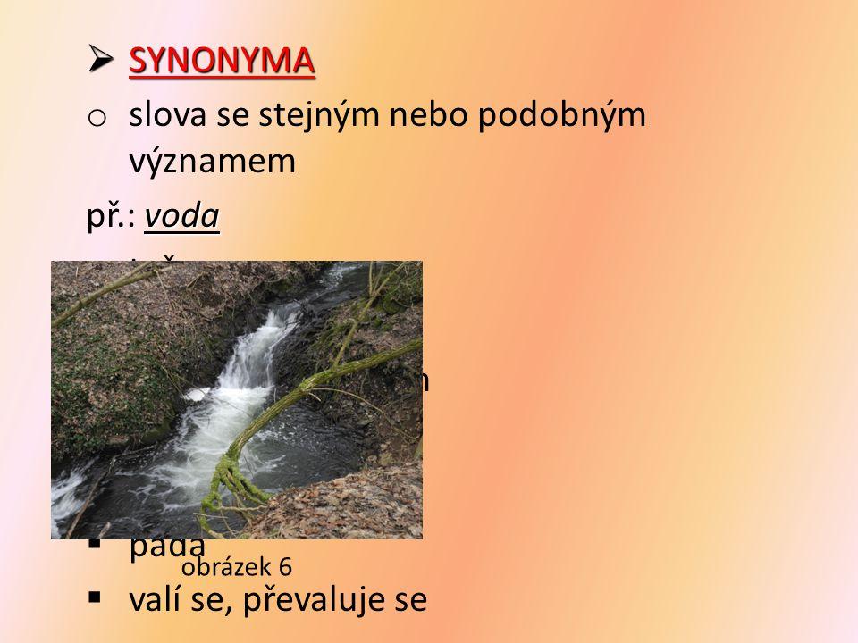 slova se stejným nebo podobným významem př.: voda teče bublá