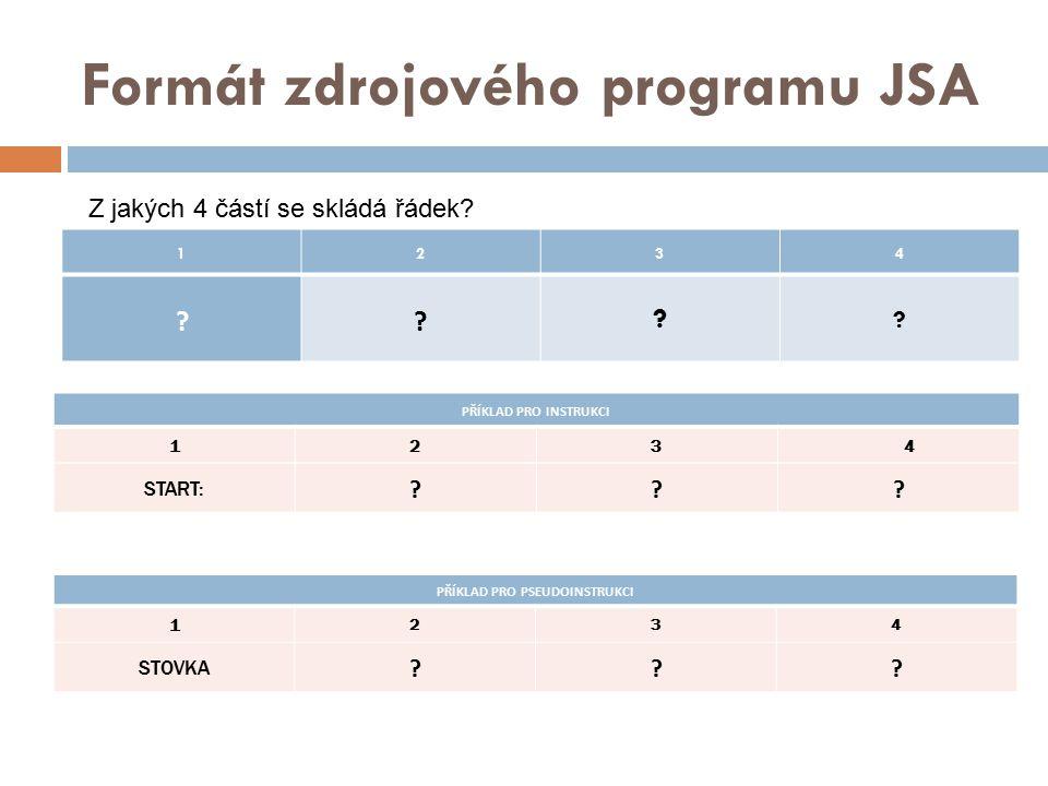 Formát zdrojového programu JSA