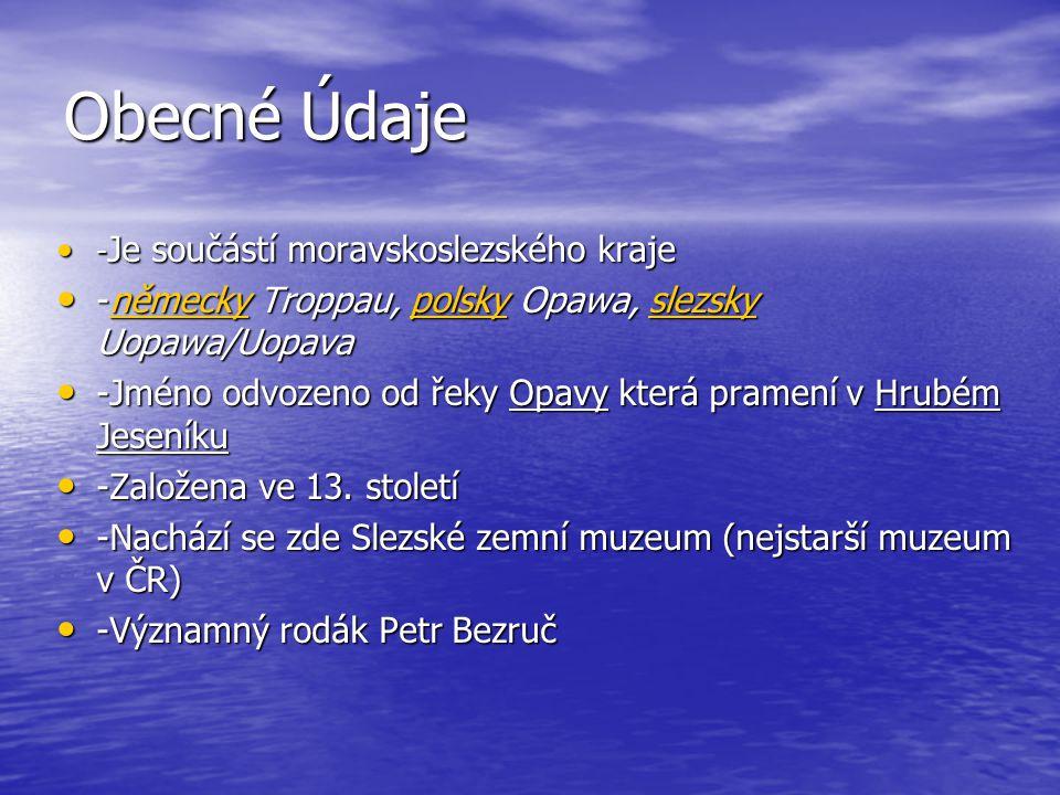 Obecné Údaje -německy Troppau, polsky Opawa, slezsky Uopawa/Uopava