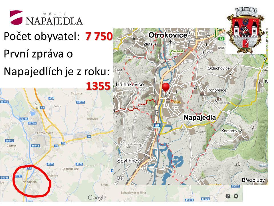 Počet obyvatel: 7 750 První zpráva o Napajedlích je z roku: 1355
